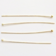 100 Gold plated 1 Inch Ball Head Pins